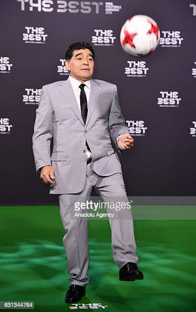 Diego Armando Maradona arrives for the The Best FIFA Football Awards at TPC Studio in Zurich, Switzerland on January 9, 2017.