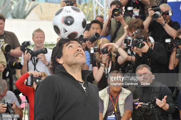 Diego Armando Maradona at the photo call of 'Maradona by Kusturica' during the 61st Cannes Film Festival