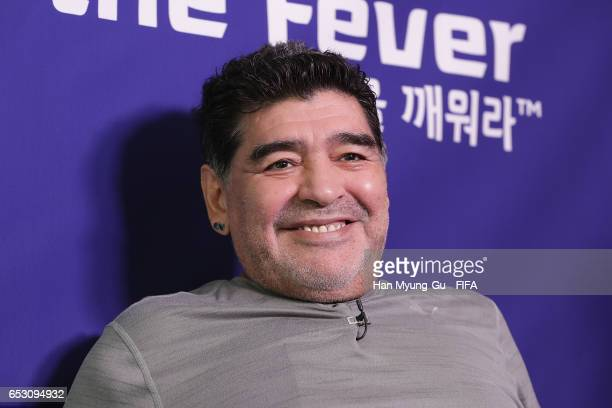 Diego Armando Maradona attends an TV interview prior to Draw Of FIFA U20 World Cup Korea Republic 2017 at Hotel Novotel Suwon on March 14 2017 in...