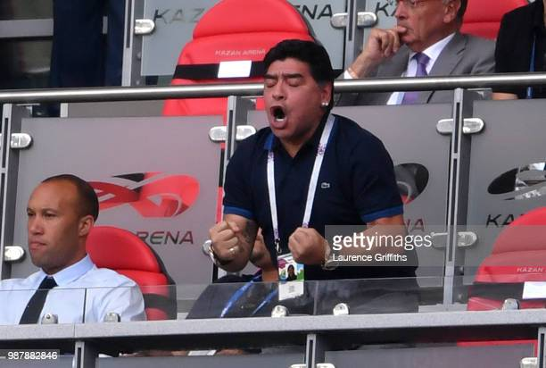 Diego Armando Maradona celebrates Argentina's second goal during the 2018 FIFA World Cup Russia Round of 16 match between France and Argentina at...
