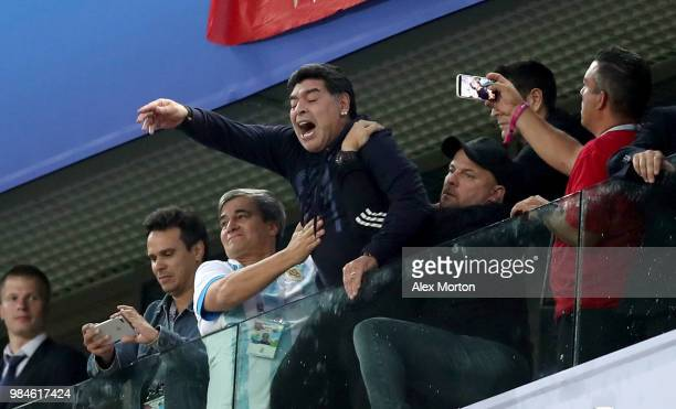 Diego Armando Maradona celebrates Argentina's victory following during the 2018 FIFA World Cup Russia group D match between Nigeria and Argentina at...