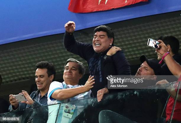 Diego Armando Maradona celebrates Argentina's victory following the 2018 FIFA World Cup Russia group D match between Nigeria and Argentina at Saint...