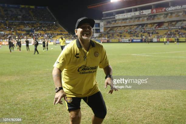 Diego Armando Maradona coach of Dorados dances prior a match the final first leg match between Dorados de Sinalo and Atletico San Luis as part of the...