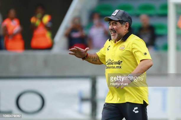 Diego Armando Maradona coach of Dorados de Sinaloa celebrates after winning the 11th round match between Zacatepec and Dorados as part of the Torneo...