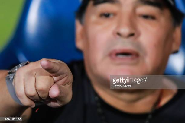 Diego Armando Maradona coach of Dorados de Sinaloa gestures during the quarterfinals match between Pumas UNAM and Dorados as part of the Copa MX...