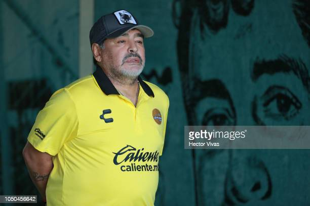 Diego Armando Maradona coach of Dorados de Sinaloa looks on during the 11th round match between Zacatepec and Dorados as part of the Torneo Apertura...
