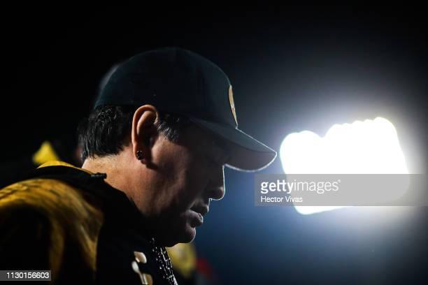 Diego Armando Maradona coach of Dorados de Sinaloa looks on during the quarterfinals match between Pumas UNAM and Dorados as part of the Copa MX...