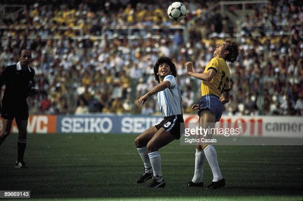 Diego Armando Maradona during a football match Math between Argentian and Brasil in the football world championship Spain 1982