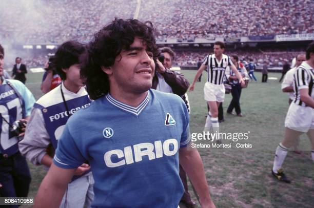 Diego Armando Maradona during a Serie A match between Napoli SSC and Juventus Football Club at Stadio San Paolo on May 5 1985 in Naples Italy