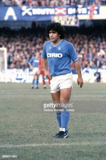 Diego Armando Maradona, during a Serie A match between Napoli, S.S.C and A.S. Roma at Stadio San Paolo on December 16, 1984 in Naples, Italy.