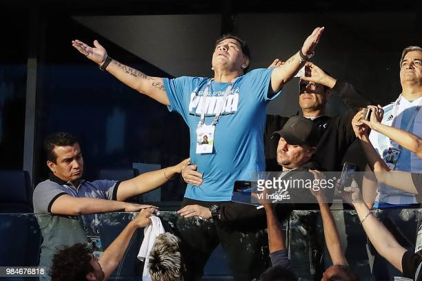 Diego Armando Maradona during the 2018 FIFA World Cup Russia group D match between Nigeria and Argentina at the Saint Petersburg Stadium on June 26...