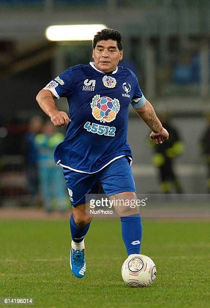 Diego Armando Maradona during the match for the peace Uniti per la Pace at the Olympic Stadium in Rome on october 12 2016