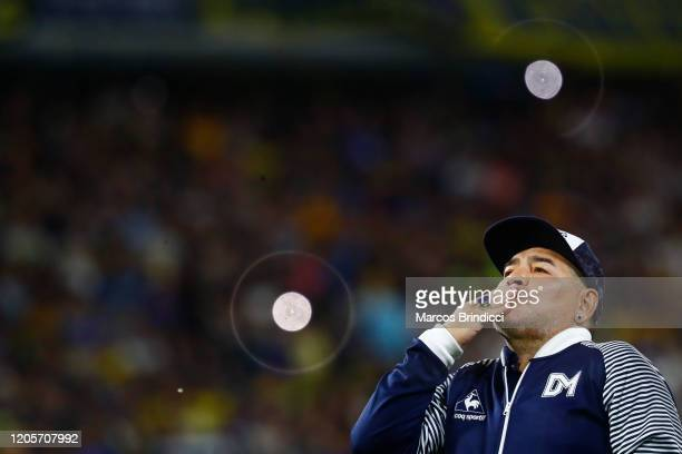 Diego Armando Maradona head coach of Gimnasia y Esgrima La Plata blows a kiss to fans prior to a match between Boca Juniors and Gimnasia y Esgrima La...