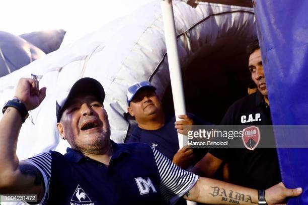 Diego Armando Maradona head coach of Gimnasia y Esgrima La Plata celebrates at the end of a match between Gimnasia y Esgrima La Plata and Atletico...