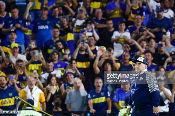 Diego Armando Maradona head coach of Gimnasia y Esgrima La Plata is greeted by fans before a match between Boca Juniors and Gimnasia y Esgrima La...