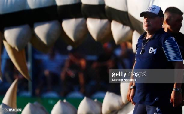 Diego Armando Maradona head coach of Gimnasia y Esgrima La Plata enters the field prior to a match between Gimnasia y Esgrima La Plata and Atletico...