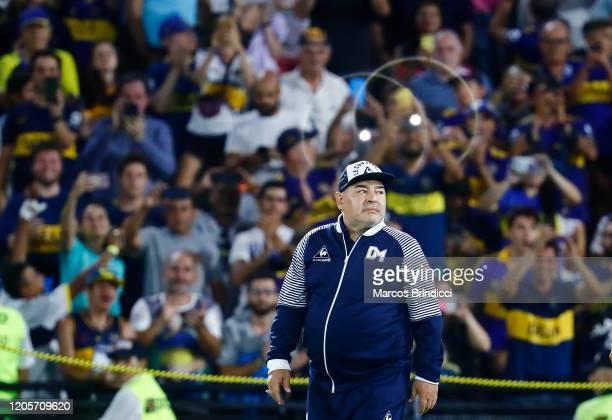 Diego Armando Maradona head coach of Gimnasia y Esgrima La Plata enters the field before a match between Boca Juniors and Gimnasia y Esgrima La Plata...