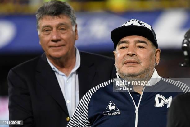 Diego Armando Maradona Head Coach of Gimnasia y Esgrima looks on during a match between Boca Juniors and Gimnasia y Esgrima La Plata as part of...