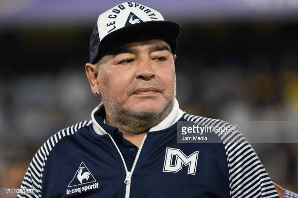 Diego Armando Maradona Head Coach of Gimnasia y Esgrima looks on prior to a match between Boca Juniors and Gimnasia y Esgrima La Plata as part of...