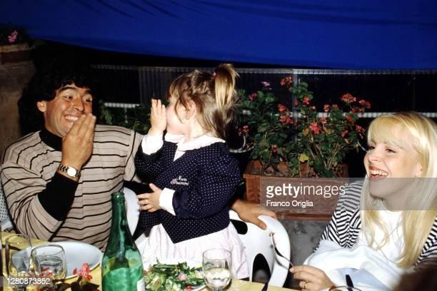 Diego Armando Maradona, his wife Claudia Villafane and his daughter Dalma Maradona attend a dinner at the Capri's SSC Naples Fan Club on June 9, 1989...