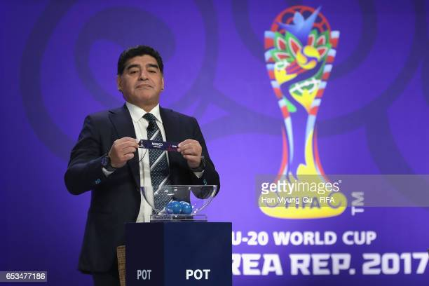 Diego Armando Maradona holds up the name of Mexico during Draw Of FIFA U20 World Cup Korea Republic 2017 at Suwon SK Artrium on March 15 2017 in...