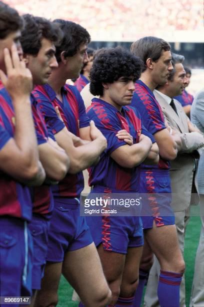 Diego Armando Maradona in the presentation of the FC Barcelona