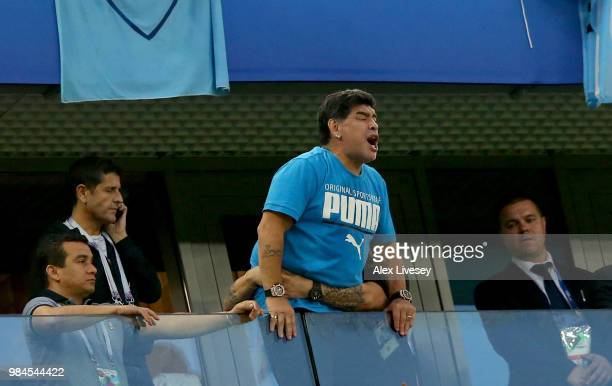 Diego Armando Maradona is seen in the stands during the 2018 FIFA World Cup Russia group D match between Nigeria and Argentina at Saint Petersburg...