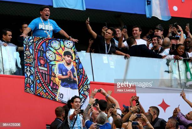 Diego Armando Maradona is seen in the stands prior to the 2018 FIFA World Cup Russia group D match between Nigeria and Argentina at Saint Petersburg...
