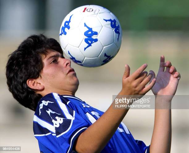 Diego Armando Maradona junior the 15yearold son of Argentinian soccer legend Maradona shows his skills during his first training session with the...