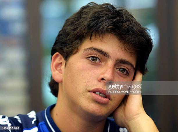 Diego Armando Maradona junior the 15yearold son of Argentinian soccer legend Maradona rests during his first training session with the Italian...