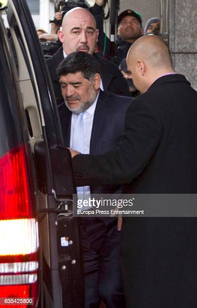 Diego Armando Maradona leaves hotel go ahead to a restaurant to have lunch with Real Madrid and Napoli presidents Some hours before the Police...