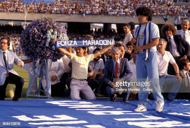 Diego Armando Maradona new purchase of Napoli Calcio is presented at Stadio San Paolo in front of eighty thousand fans of the Naples Calcio on July 5...