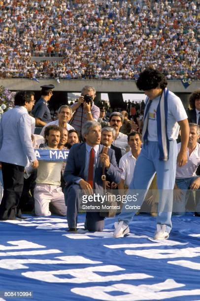 Diego Armando Maradona, new purchase of Napoli Calcio, is presented at Stadio San Paolo in front of eighty thousand fans of the Naples Calcio on July...