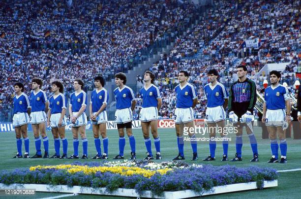 Diego Armando Maradona of Argentina during the National anthem with his team before the FIFA World Cup Final 1990 match between West Germany and...