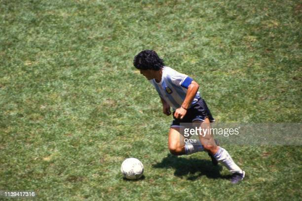 Diego Armando Maradona of Argentina during the World Cup Final match between Argentina and West Germany at Estadio Azteca, Mexico City, Mexico on...