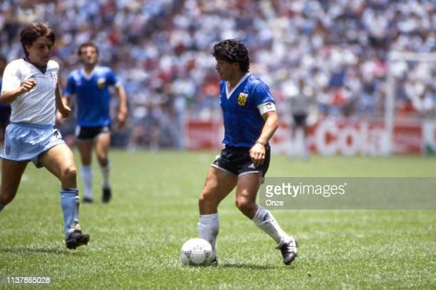 Diego Armando Maradona of Argentina during the World Cup Quarter Final match between Argentina and England at Estadio Azteca, Mexico City, Mexico on...