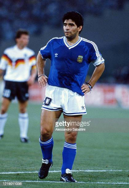 Diego Armando Maradona of Argentina looks on during the FIFA World Cup Final 1990 match between West Germany and Argentina at Stadio Olimpico on July...