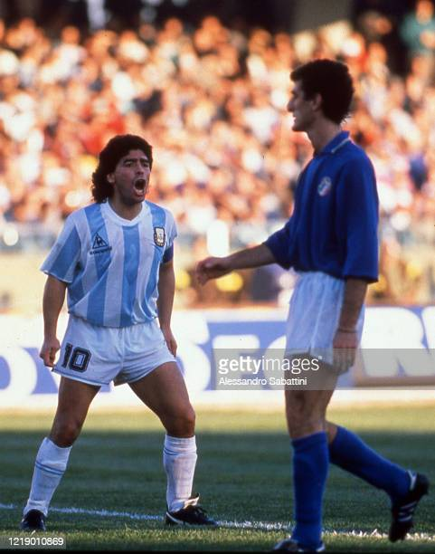 Diego Armando Maradona of Argentina reacts during the Friendly match between Italy and Argentina at Stadio Sant'Elia on December 21, 1989 in...
