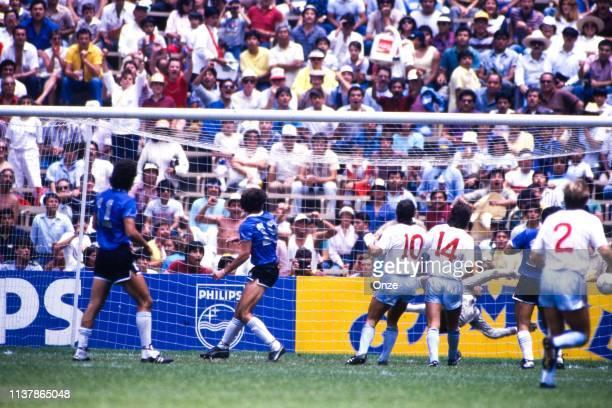 Diego Armando Maradona of Argentina score his goal during the World Cup Quarter Final match between Argentina and England at Estadio Azteca, Mexico...