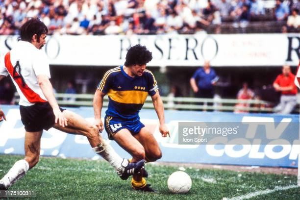 Diego Armando MARADONA of Boca Juniors during the Primera Division match between River Plate and Boca Juniors at Estadio Monumental Buenos Aires...