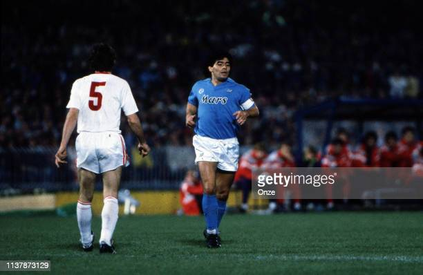 Diego Armando Maradona of Napoli during the UEFA Cup Final match between SSC Napoli and VfB Stuttgart at San Paolo Stadium Napoli Italy on May 3rd...