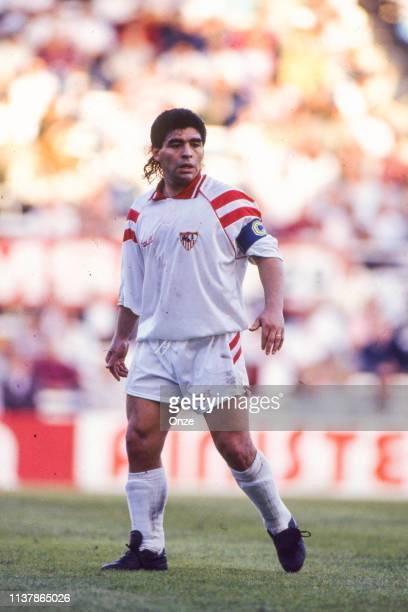 Diego Armando Maradona of Sevilla during the Liga match between Sevilla and Cadix at Ramon Sanchez Pizjuan, Sevilla, Spain on October 25th 1992