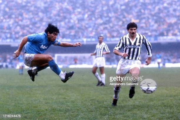 Diego Armando Maradona of SSC Napoli in action during the Serie A match between SSC Napoli and Juventus, Italy.