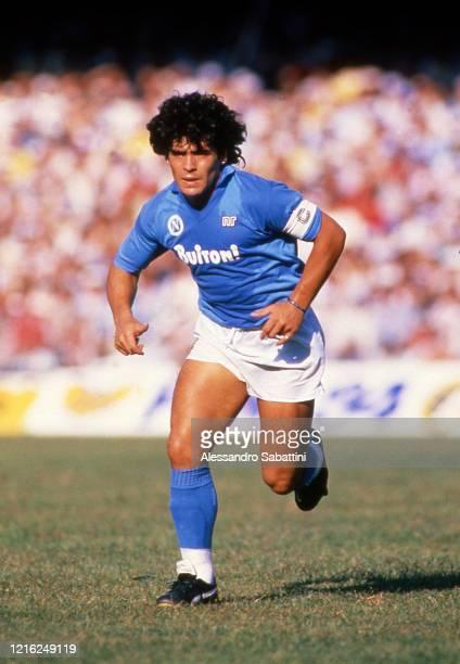 Diego Armando Maradona of SSC Napoli looks on during the Seria A Italy.