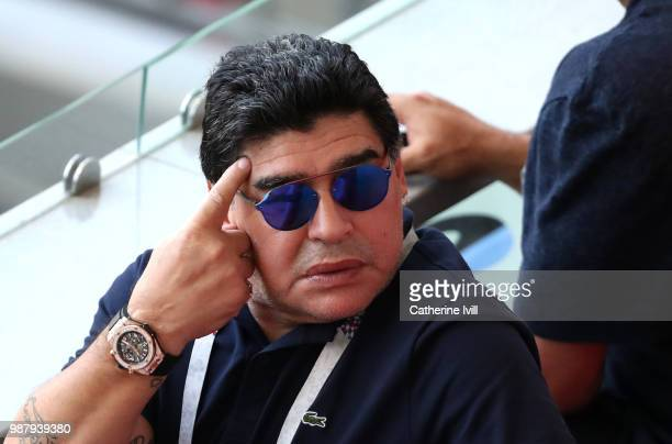 Diego Armando Maradona reacts after France's fourth goal during the 2018 FIFA World Cup Russia Round of 16 match between France and Argentina at...