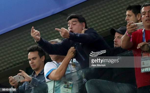 Diego Armando Maradona reacts following the 2018 FIFA World Cup Russia group D match between Nigeria and Argentina at Saint Petersburg Stadium on...