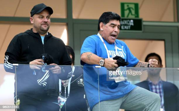 Diego Armando Maradona reacts from the stands during the 2018 FIFA World Cup Russia group D match between Argentina and Croatia at Nizhny Novgorod...