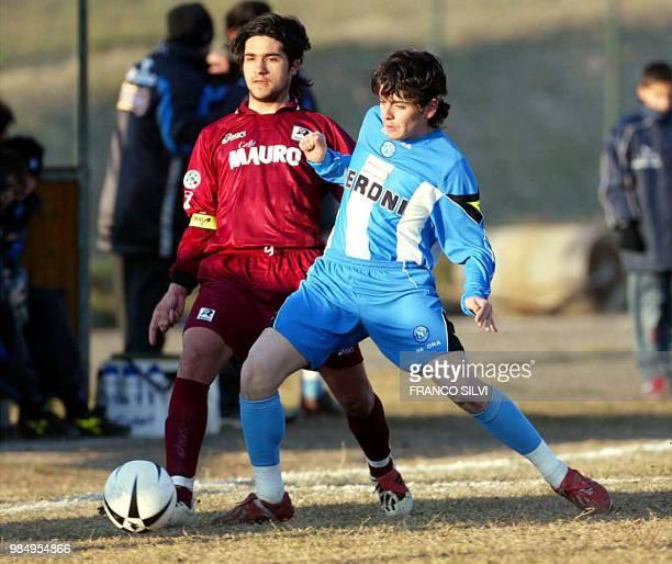 Diego Armando Maradona Sinagra Jr the 16yearold son of former Argentine soccer star Diego Maradona wears the shirt of team Napoli as he vies with a...
