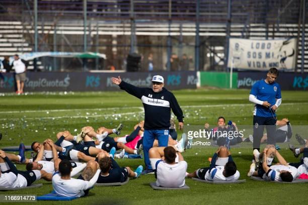 Diego Armando Maradona takes his first training session as head coach of Gimnasia y Esgrima de la Plata at Estadio Juan Carmelo Zerillo on September...