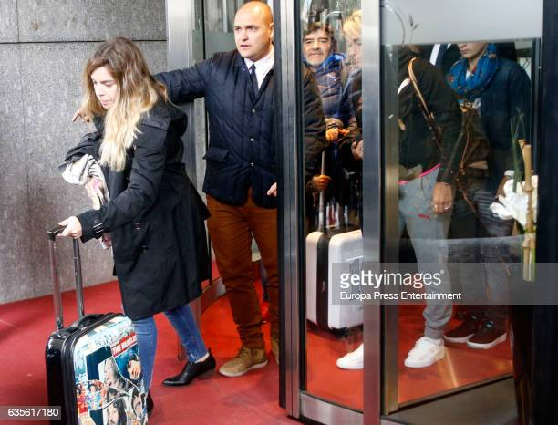Diego Armando Maradona's daughter Dalma Maradona is seen leaving hotel after attending Champions League match between Real Madrid and Napoli on...